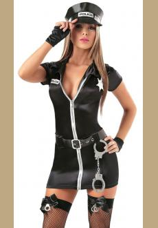 Short Sleeved Zip Front Sexy Cop Costume
