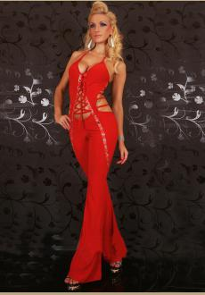 Red Halterneck Push-Up Jumpsuit