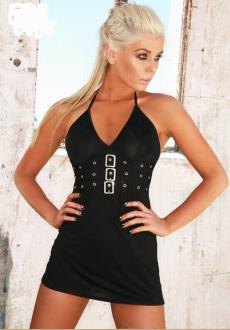 Dance Party Black halter mini dress