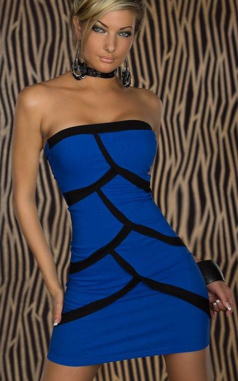 Blue Strapless Mini ...