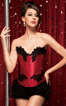 Red satin overbust b...
