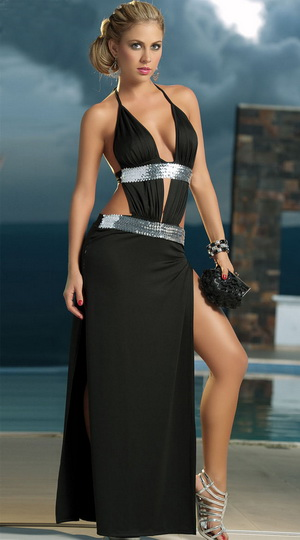 Sexy Black Gown with...