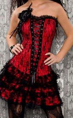 Red and black corset