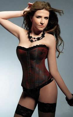 Satin Corset with La...