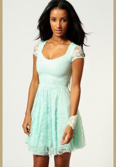 Boohoo Caroline Cap Sleeve Lace Skater Dress