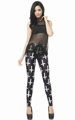 Black Cross Print Le...
