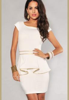 White Peplum Dress with Ivory and Gold Trim