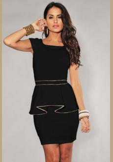 IVORY GOLD TRIM PEPLUM DRESS BLACK
