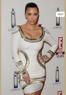 Long Sleeve With Gold Beaded Bandage Dress