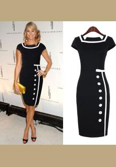 New Womens Sexy Celebrity Vintage Nautical Bodycon Pencil Party