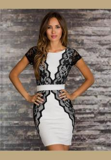 BLACK White V BACK LACE OVERLAY PARTY DRESS