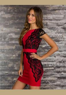 BLACK RED V BACK LACE OVERLAY PARTY DRESS