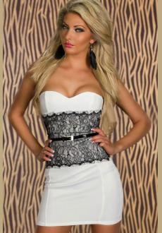 White Waist Hugging Trendy Strapless Bodycon Dress