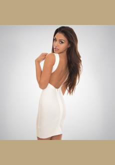 White Sleeveless Backless Bandage Dress