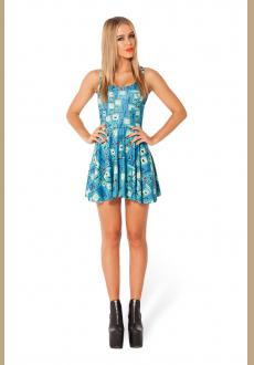 BMO Digital Print Scoop Neck Skater Dress