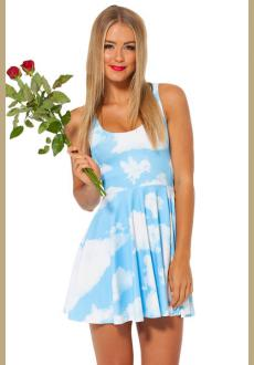 Blue Sleeveless Sky Flower Pattern Ruffle Dress  Clouds Floating Reversible Skater Dress