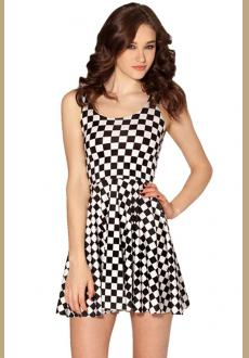 Stylish Chessboard Skater Dress