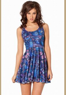 Cheap Sexy Midnight Owl Skater Dress