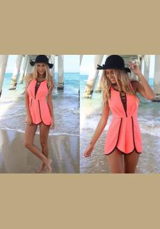 Women's Sleeveless Sexy Hollow Out Loose Lace-Up Casual Jumpsuit