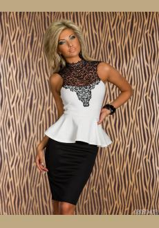 LACE COVER NECKLINE PEPLUM DRESS