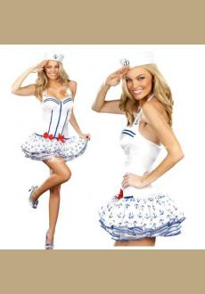 Sexy Halloween Costume Sailor luxury cruise control girls party dresses Carnival (petite, white)