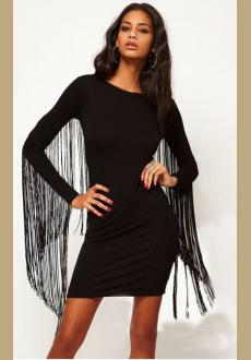 New Womens Wholesale Club Street Cotton Long Sleeve Round Neck Fringe High Waist Short Bodycon Dress