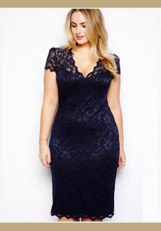 plus size Lace Midi Dress