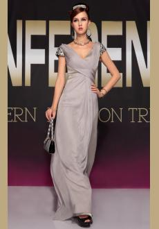2015 Europe new sexy slit gray evening dress