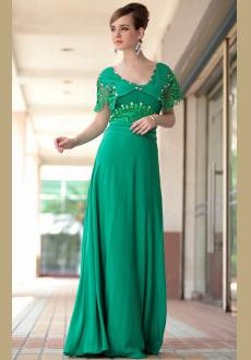 Short sleeves Green evening dress