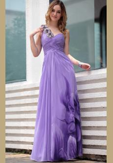 European and American one shoulder Hot purple cocktail dress