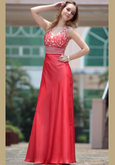 Europe and America Red long evening dress