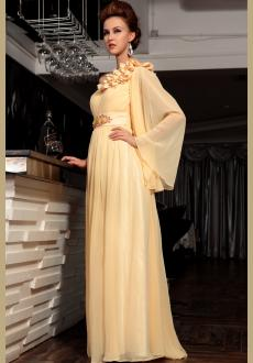 Elegant long sleeves One-shoulder Chiffon yellow evening dress