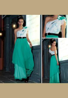 one shoulder green formal dress evening gown in Europe and America