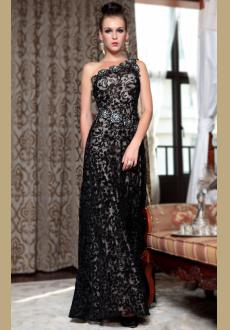 one Shoulder Black evening dress