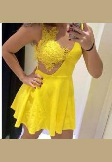 Sexy V Neck Spaghetti Strap Sleeveless Yellow Polyester Mini Dress