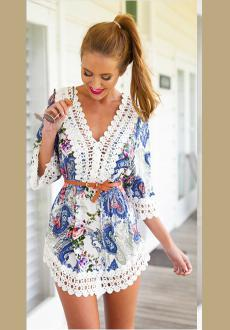 Blue Floral Lace Crochet V Neck Bohemia Dress