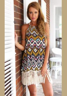 Multicolor Floral Print Tassel Halter Backless National Dress