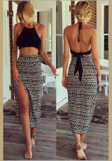 Sexy Halter Neck Sleeveless Backless Side Split Black Polyester Two-piece Ankle Length Skirt Set