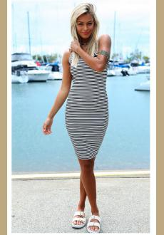 Halter Dress, Bag Hip Stripe Dress