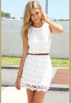 White Floral Hollow-out Lace Dress