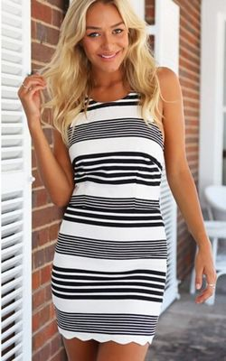 Crossed Striped Dres...