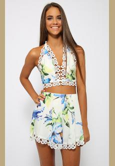 White Blue Green Floral Crochet Lace Trim Spaghetti Strap V Neck Tie Back Crop Halter Shorts Two Piece Romper