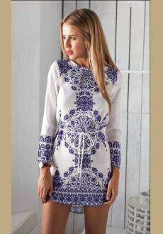Blue Long Sleeve With Belt Vintage Print Dress
