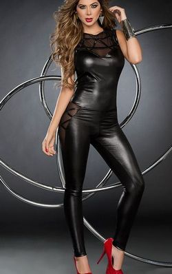 WETLOOK JUMPSUIT WIT...