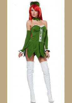 Green and White Strapless Halloween Costume with Big Flower Hemline