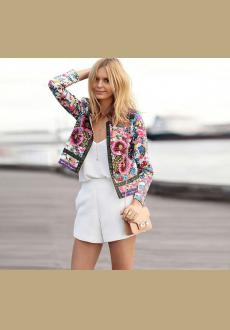 Fashion Womens Ladies Print Slim Casual Summer Blazer Suit Jacket Coat Outwear
