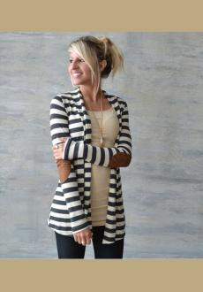 Black and White Striped Long Sleeve Cardigan