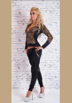 BLACK HOODED LEOPARD ZIPPER TOP WITH DRAWSTRING PANT