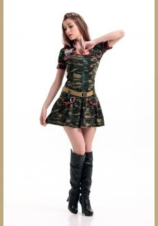 Army Green Mini Dress With G-sting Belts hat Costumes