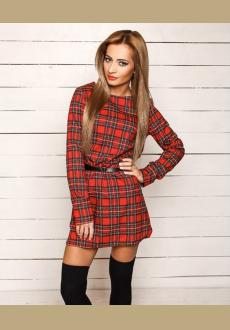 Long Sleeve Plaid Print Shift Dress